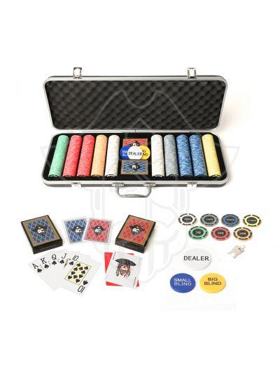 Swashbuckler Black ABS One Eyed Jack Striker Ceramic 500 Poker Chips Set